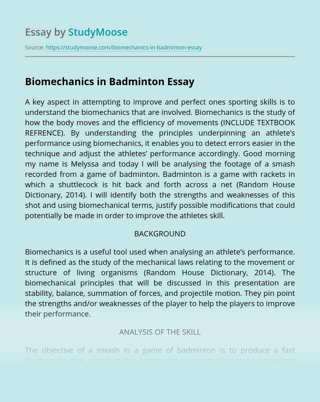 Biomechanics in Badminton