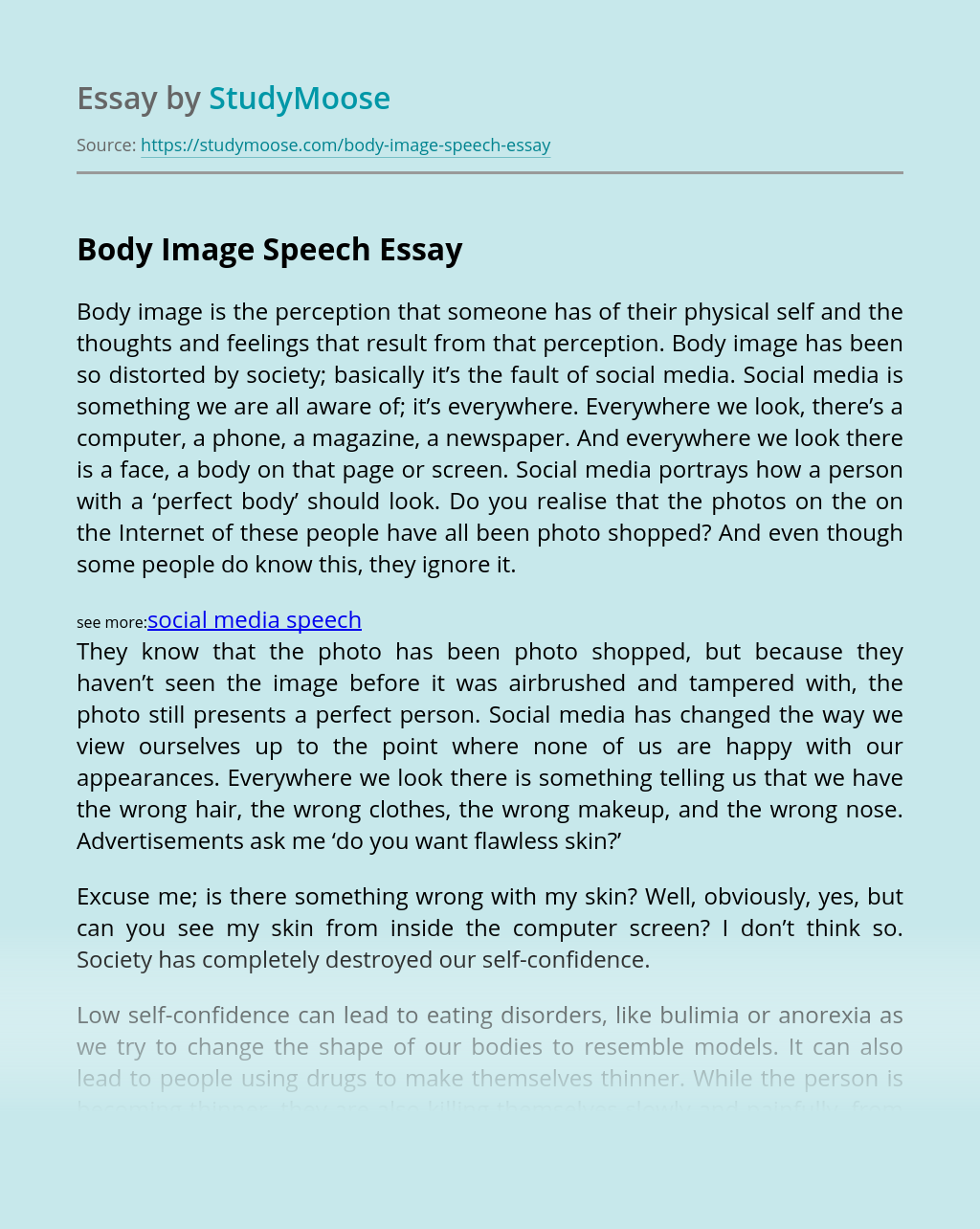 Body Image Speech