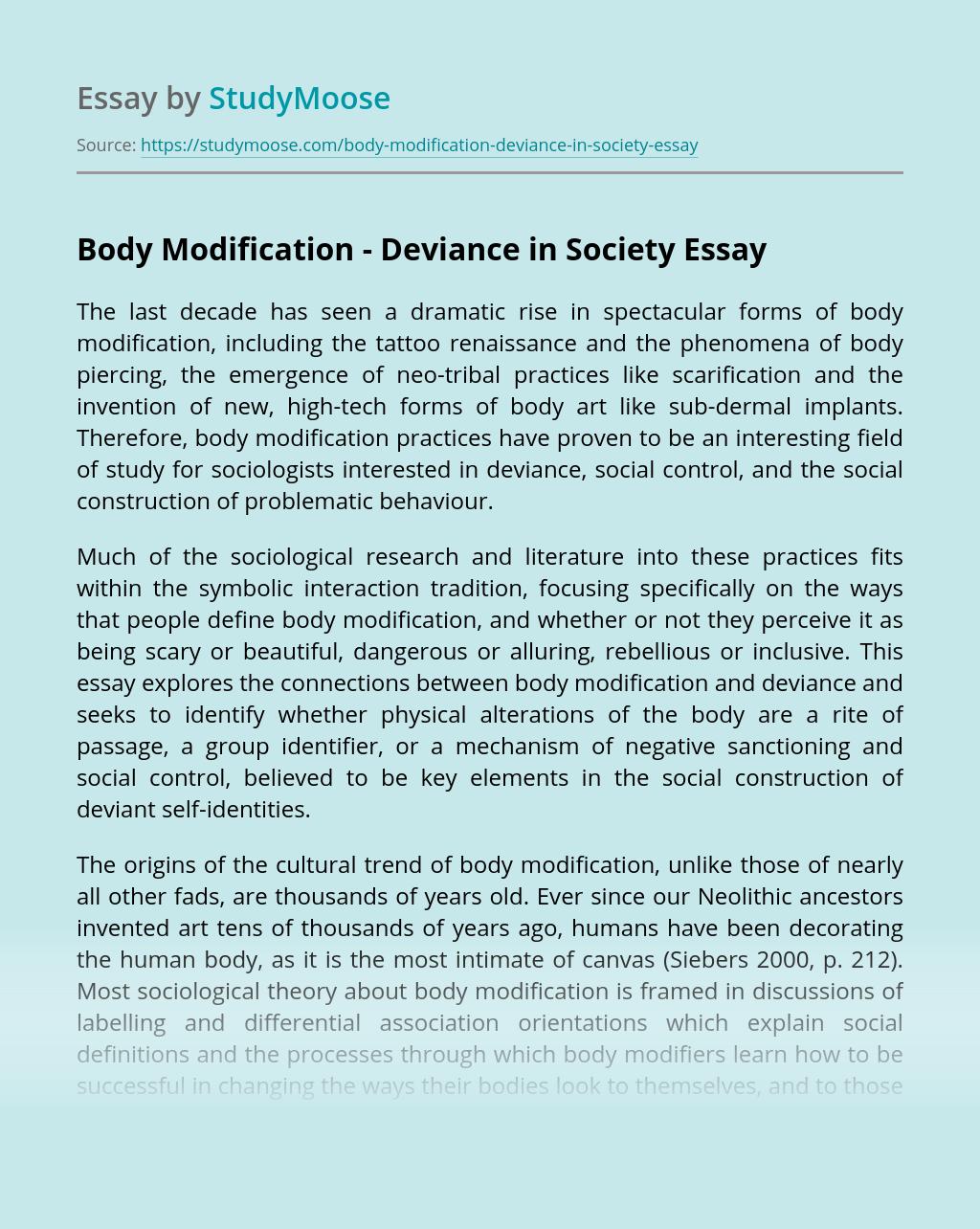 Body Modification – Deviance in Society