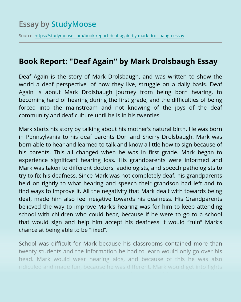 "Book Report: ""Deaf Again"" by Mark Drolsbaugh"