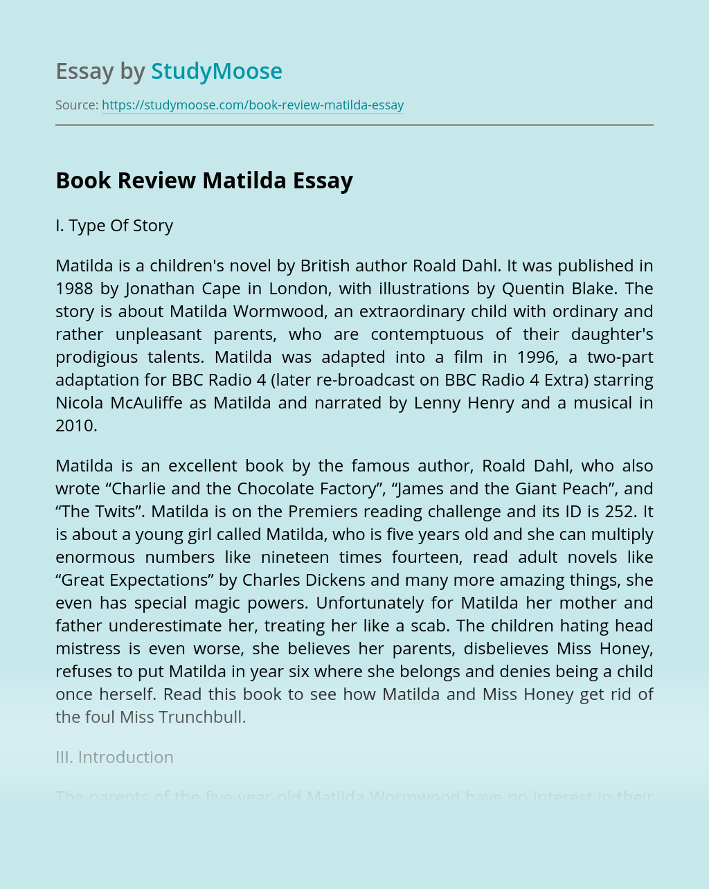 Book Review Matilda