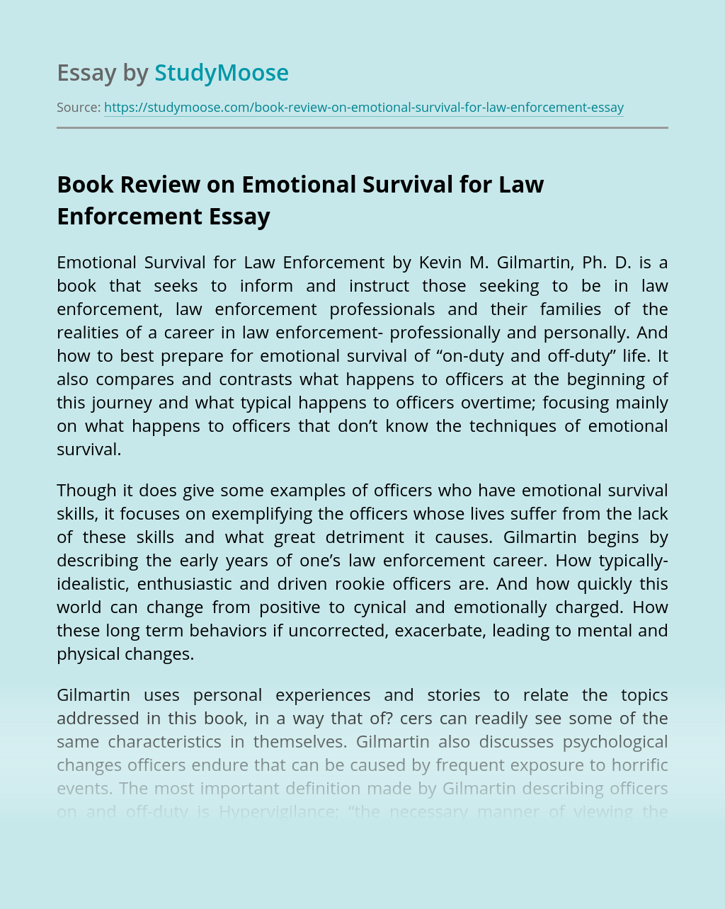 Book Review on Emotional Survival for Law Enforcement