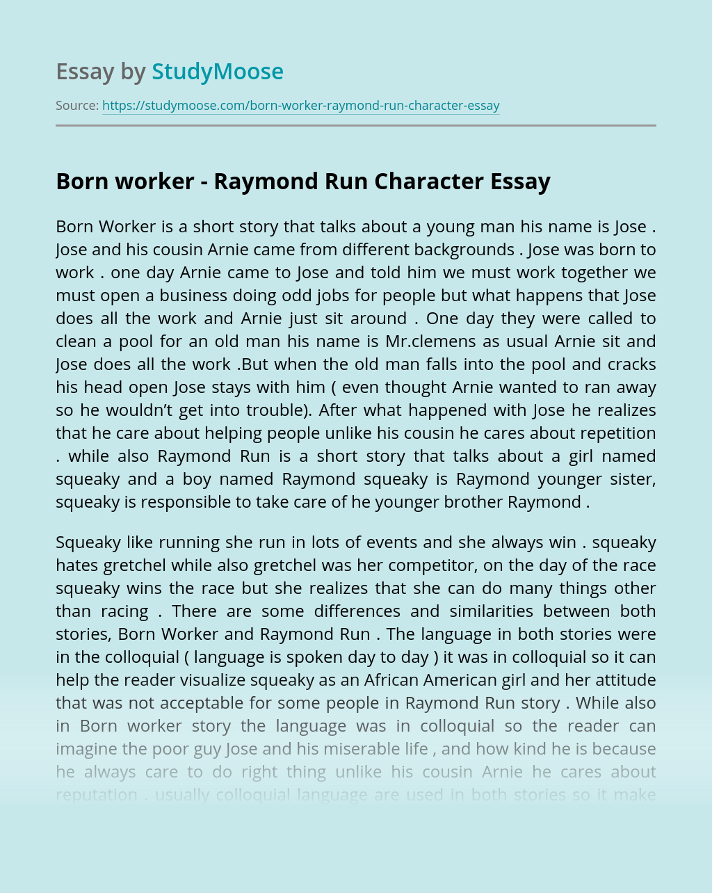 Born worker - Raymond Run Character