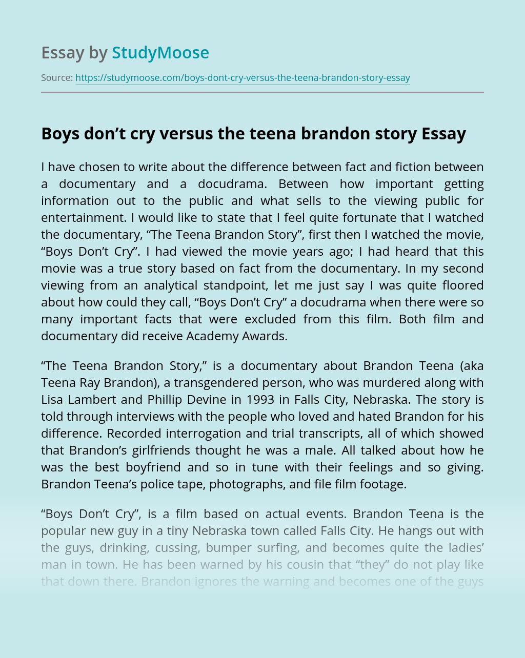 Boys Don't Cry versus the Teena Brandon Story