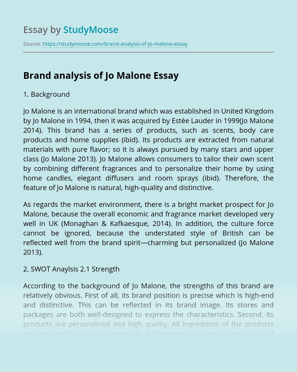 Brand analysis of Jo Malone
