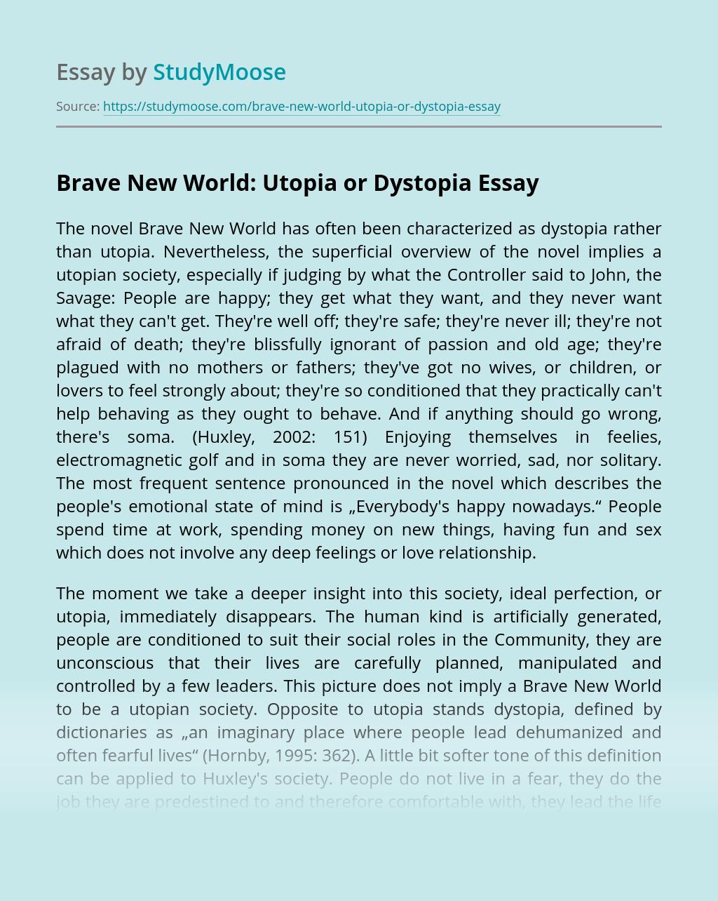 Brave New World: Utopia or Dystopia