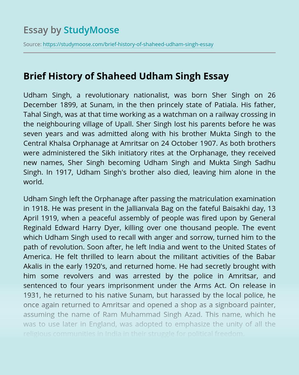 Brief History of Shaheed Udham Singh