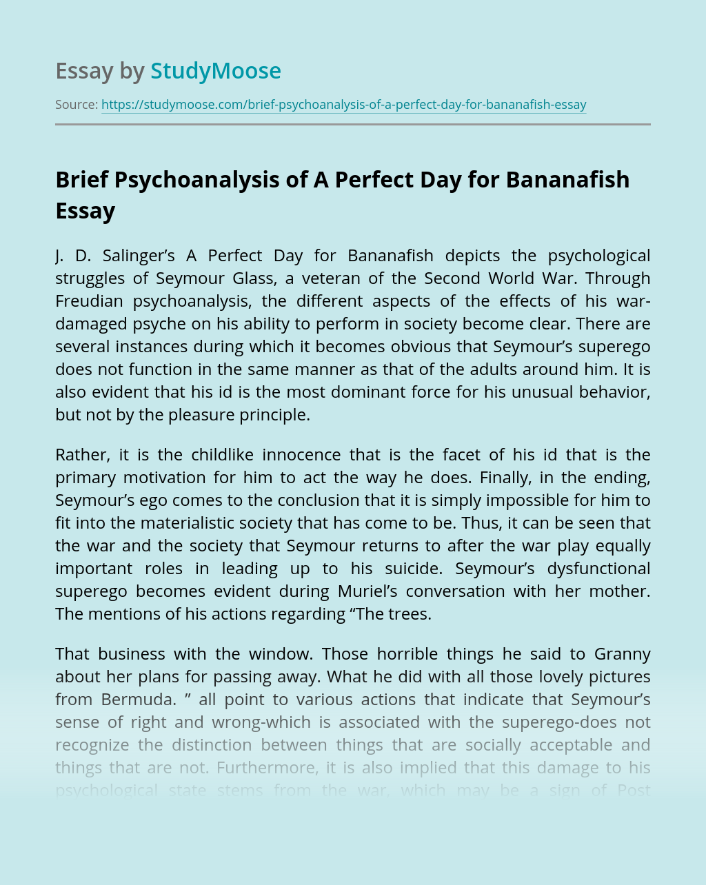 Brief Psychoanalysis of A Perfect Day for Bananafish
