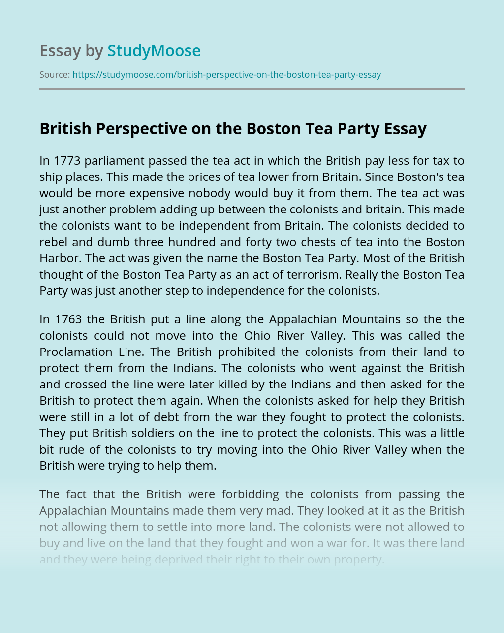 British Perspective on the Boston Tea Party
