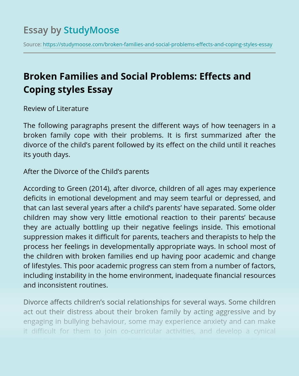 Broken Families and Social Problems: Effects and Coping styles