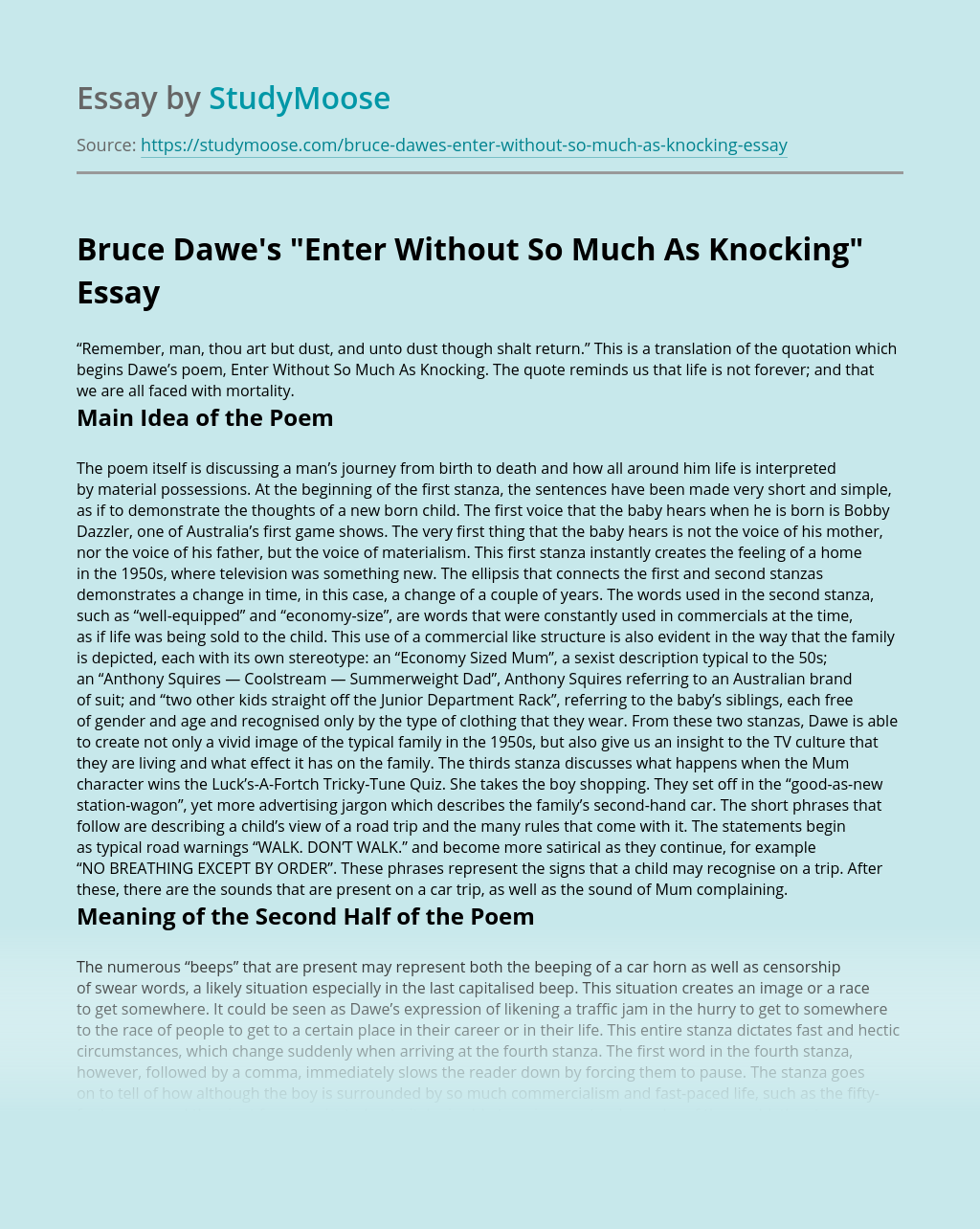 "Bruce Dawe's ""Enter Without So Much As Knocking"""
