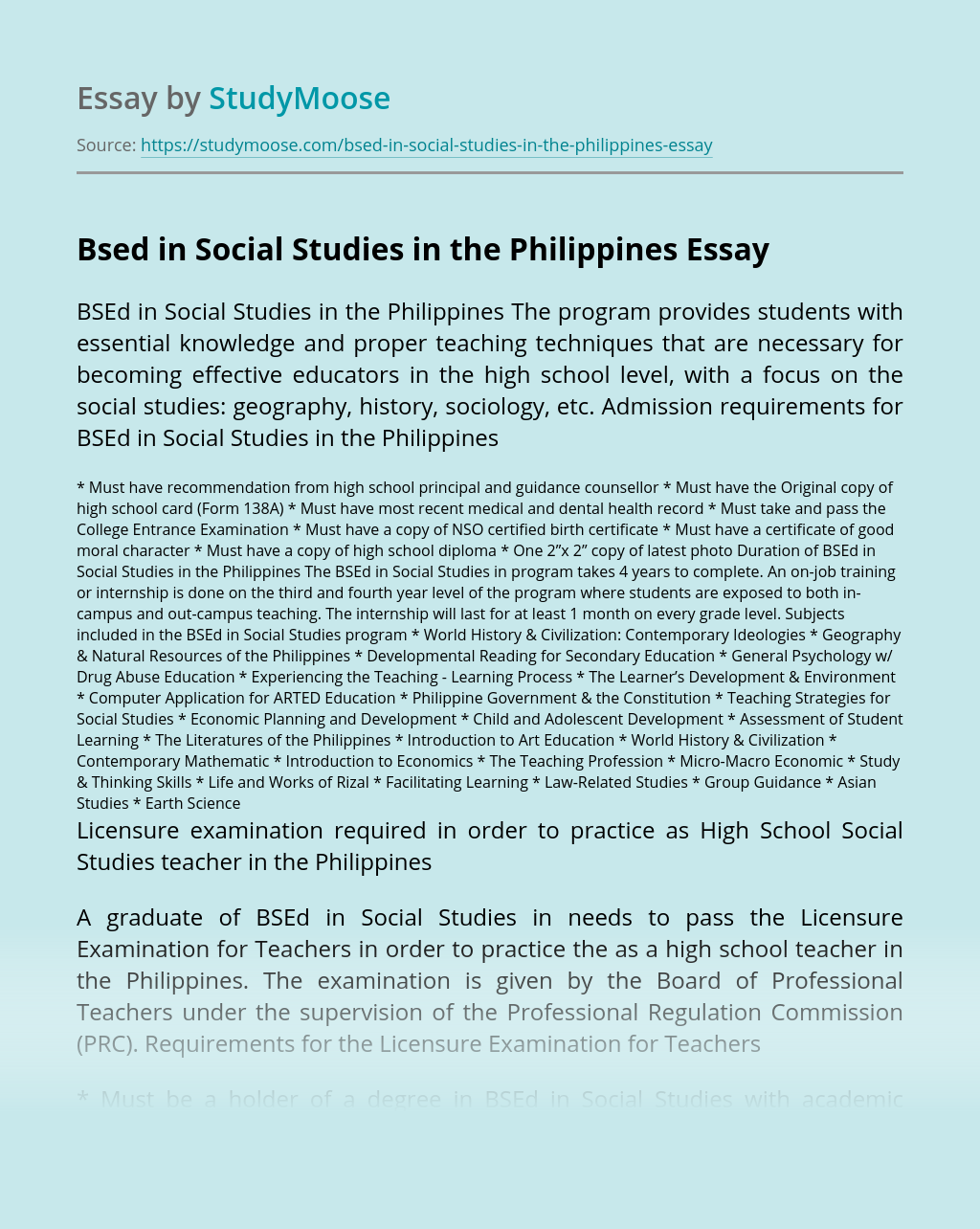 Bsed in Social Studies in the Philippines