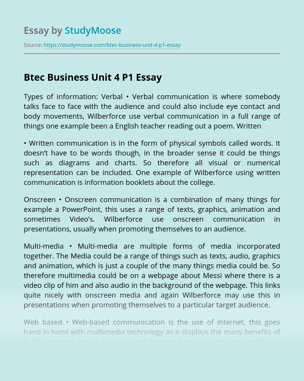 Btec Business Unit 4 P1