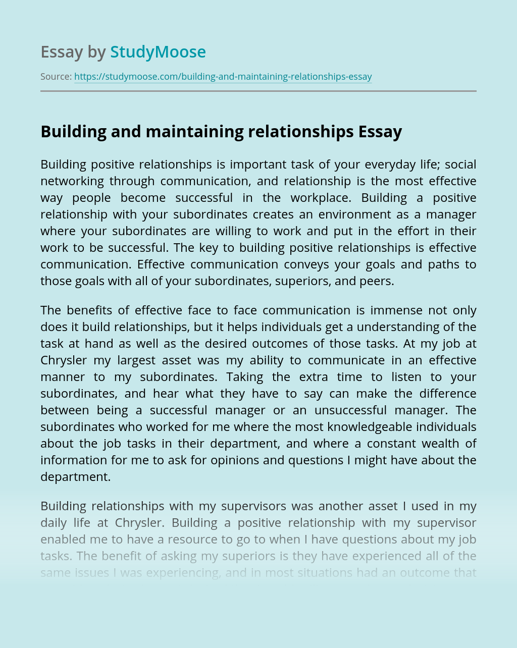 Building and maintaining relationships