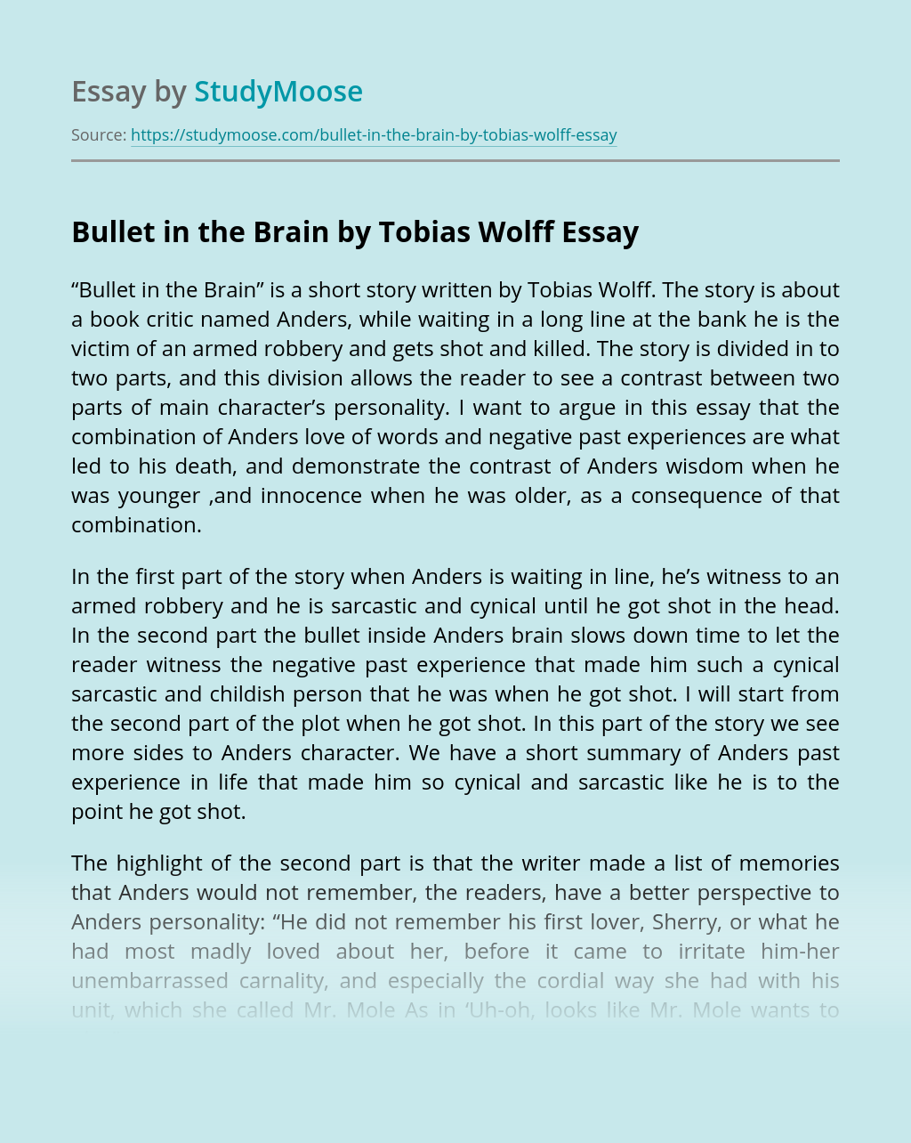 Bullet in the Brain by Tobias Wolff