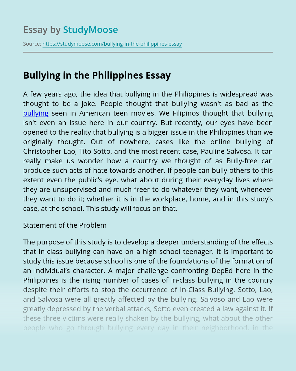 Bullying in the Philippines