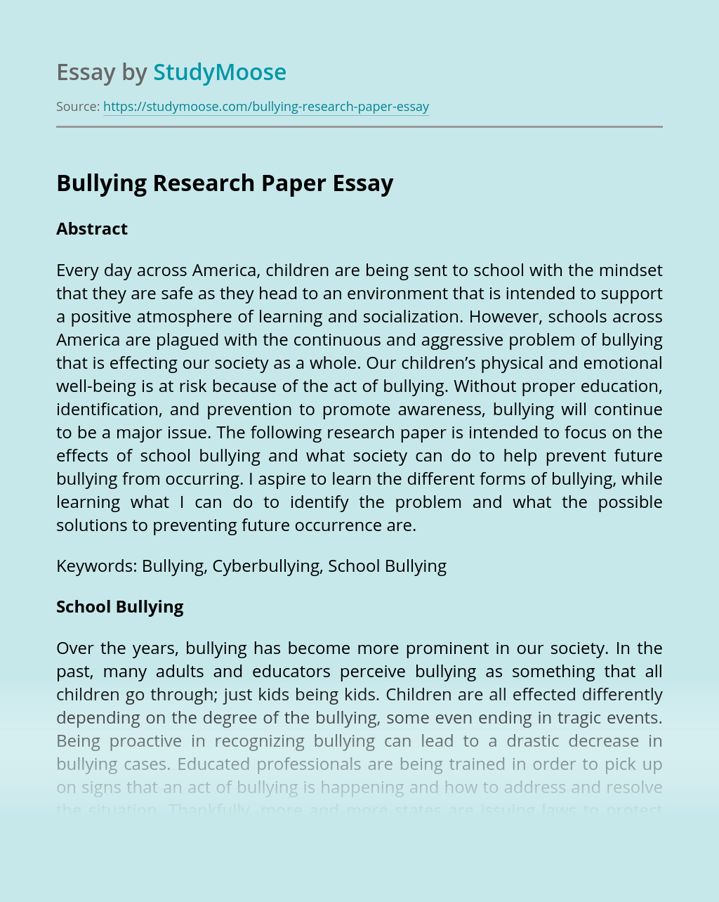 Bullying Research Paper