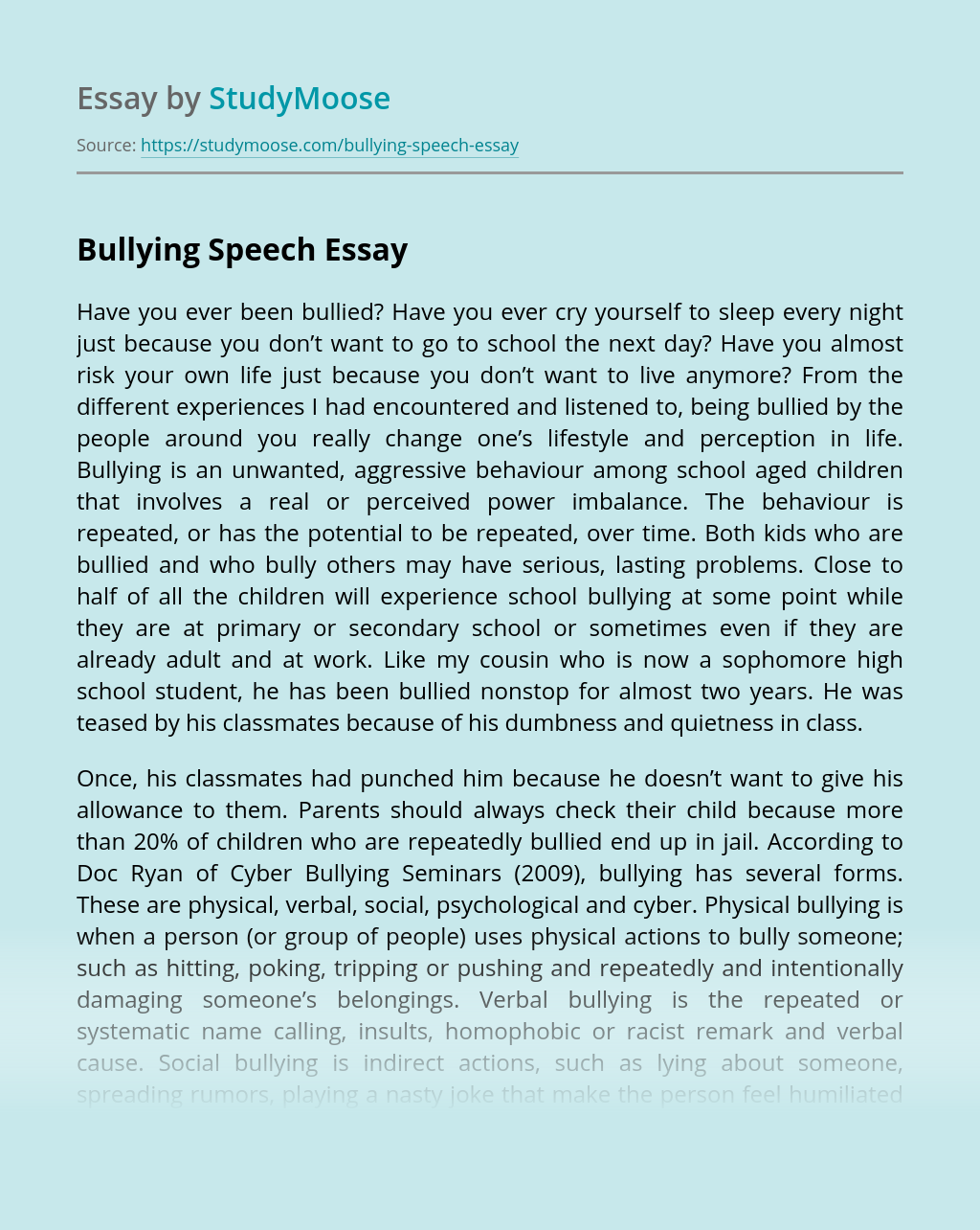 Bullying Speech