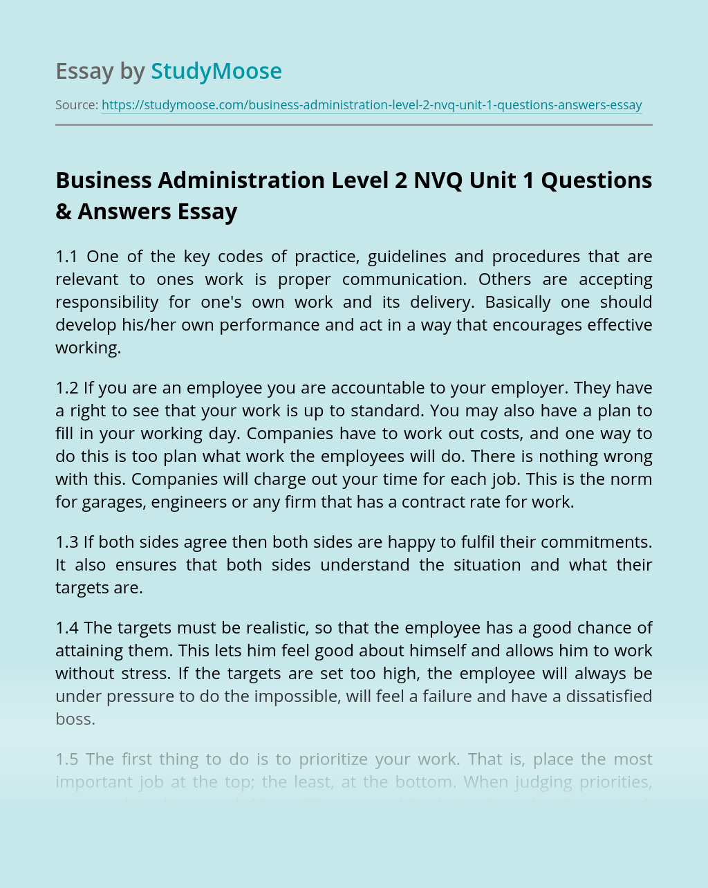 Business Administration Level 2 NVQ Unit 1 Questions & Answers