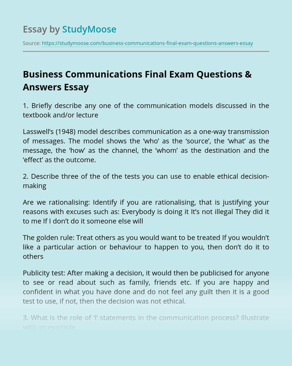 Business Communications Final Exam Questions & Answers
