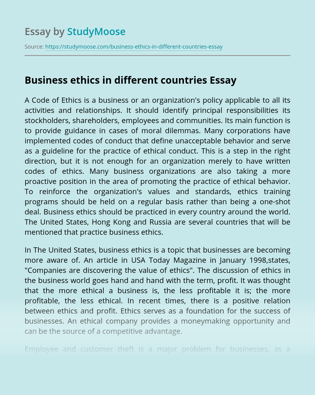 Business ethics in different countries