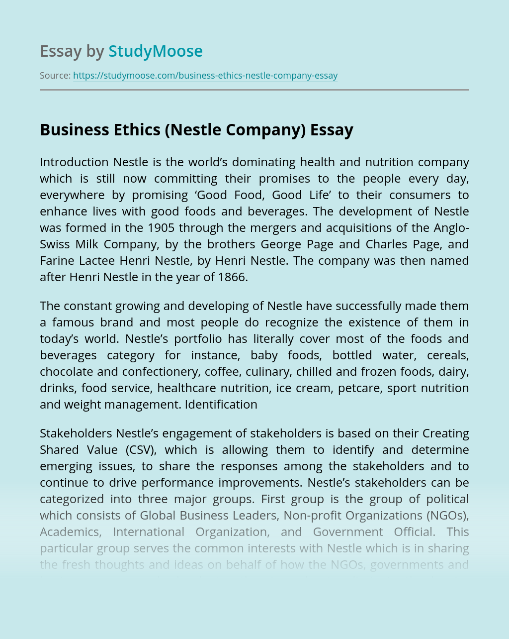 Business Ethics (Nestle Company)