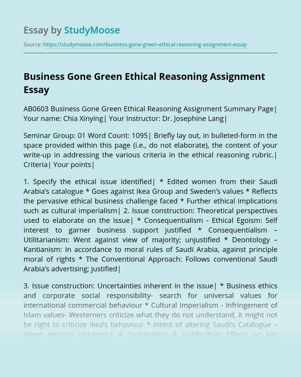 Business Gone Green Ethical Reasoning Assignment