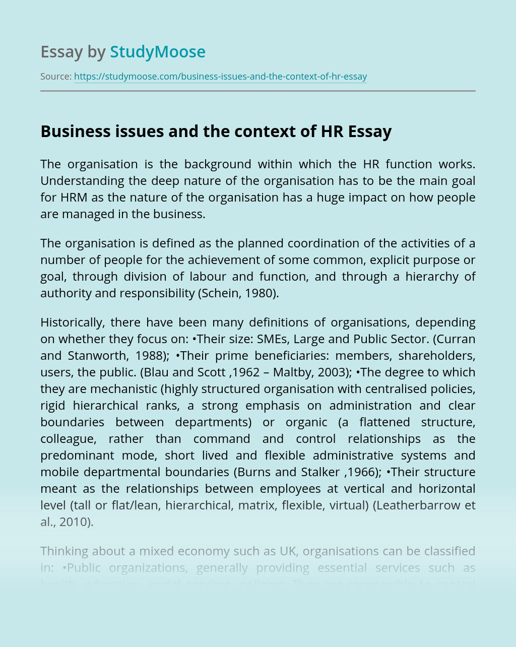 Business issues and the context of HR