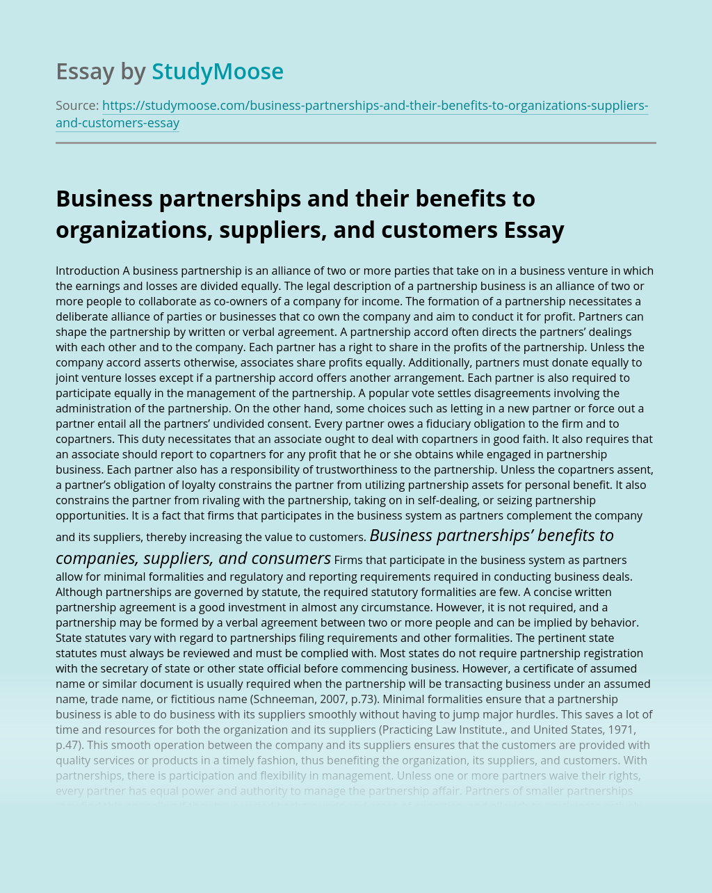 Business partnerships and their benefits to organizations, suppliers, and customers