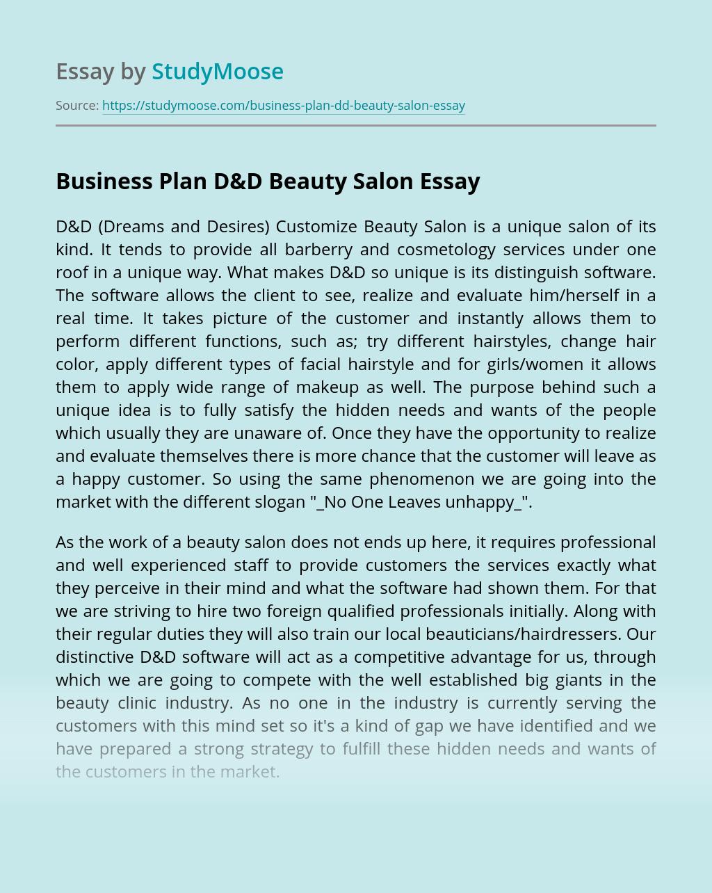 Business Plan D&D Beauty Salon