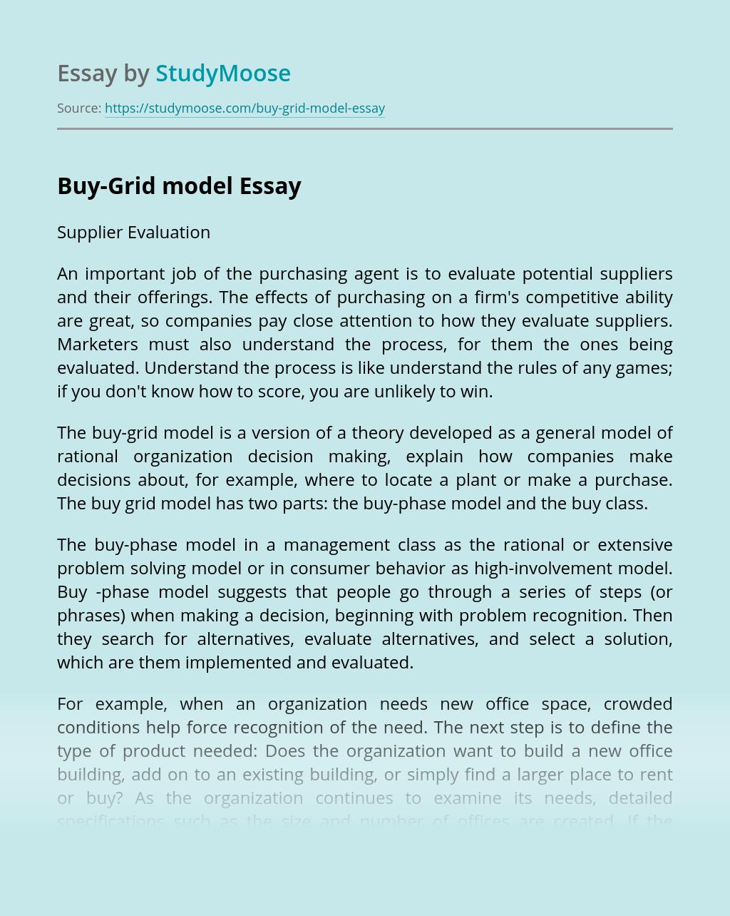 Buy-Grid model