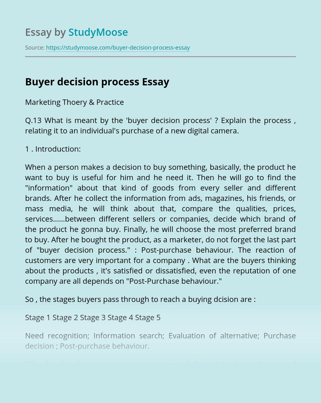 Buyer decision process