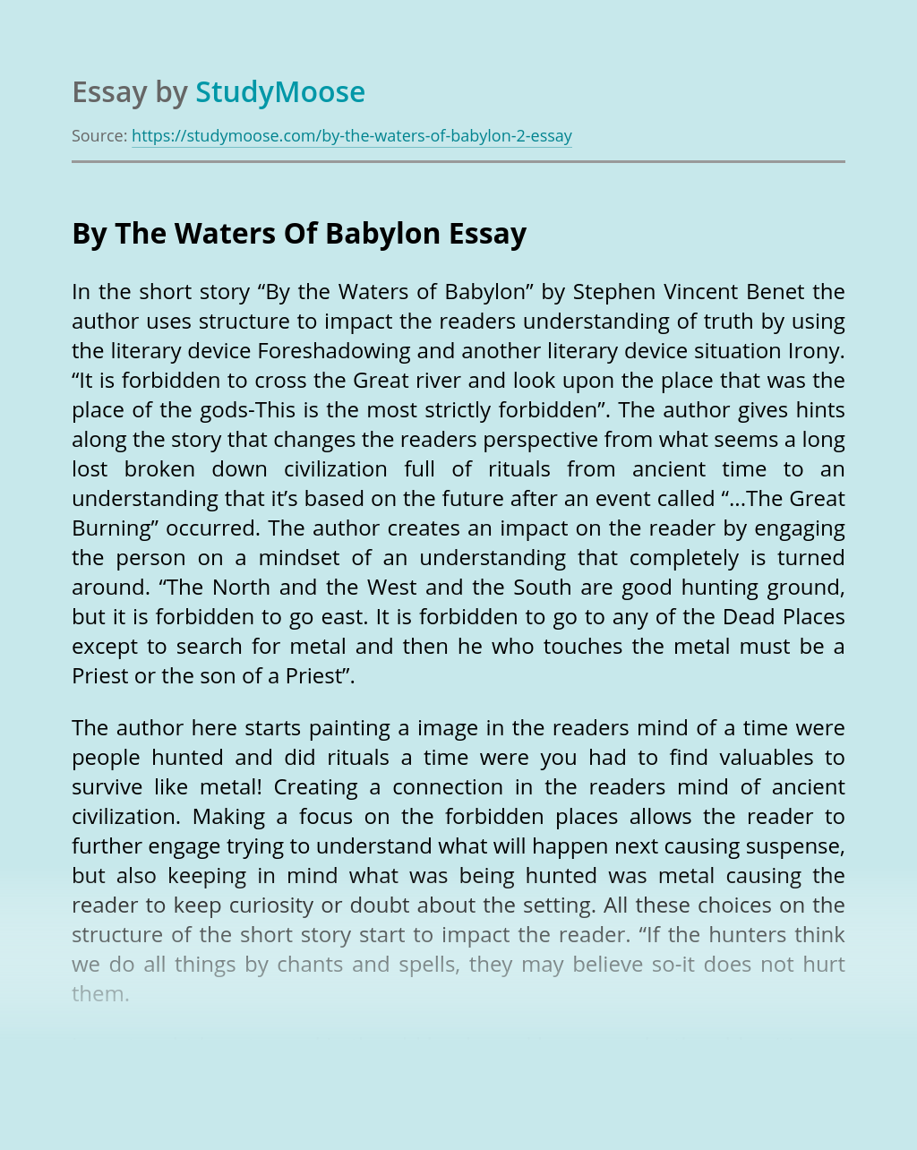 """Literary Devices in """"By the Waters of Babylon"""""""