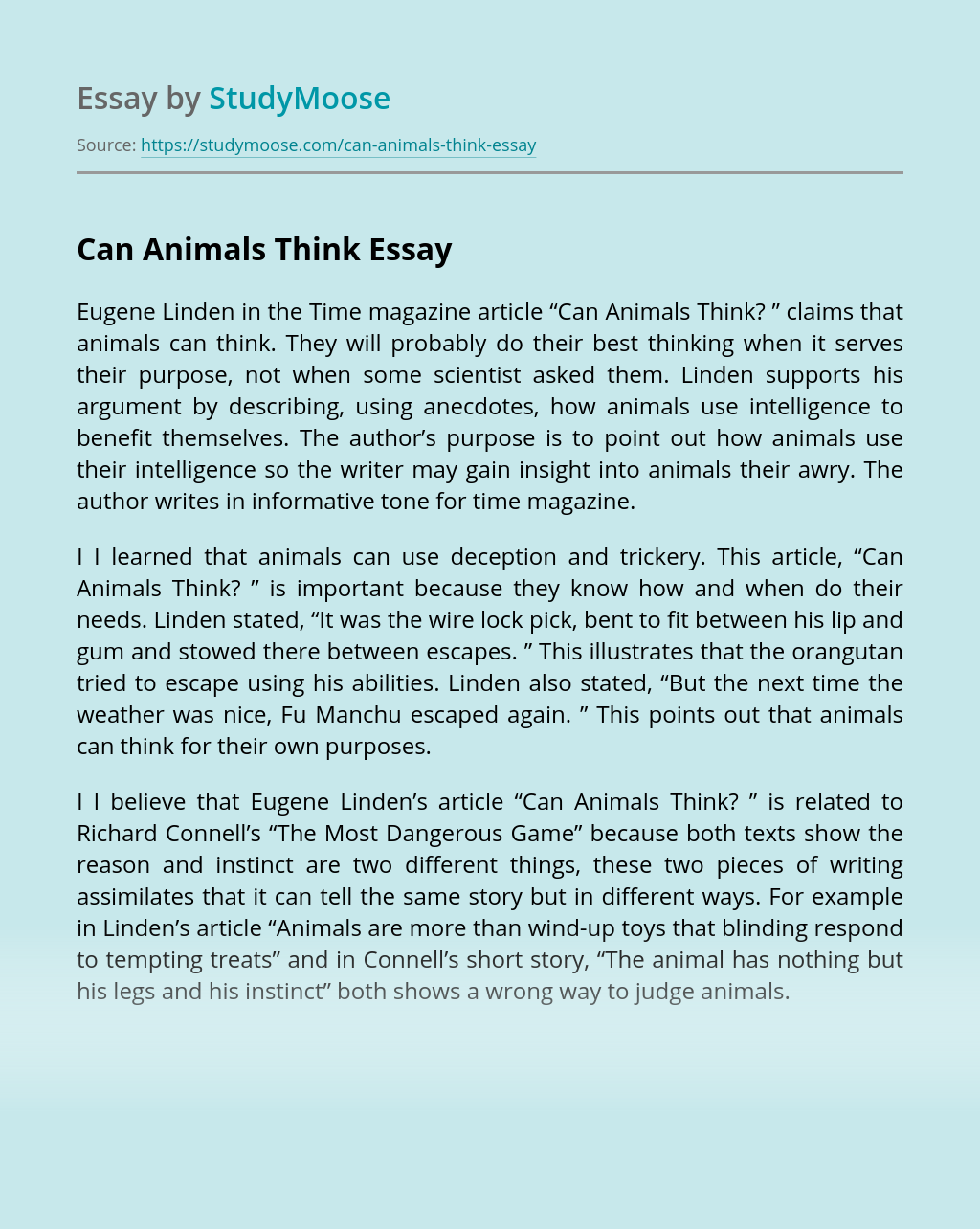 Can Animals Think