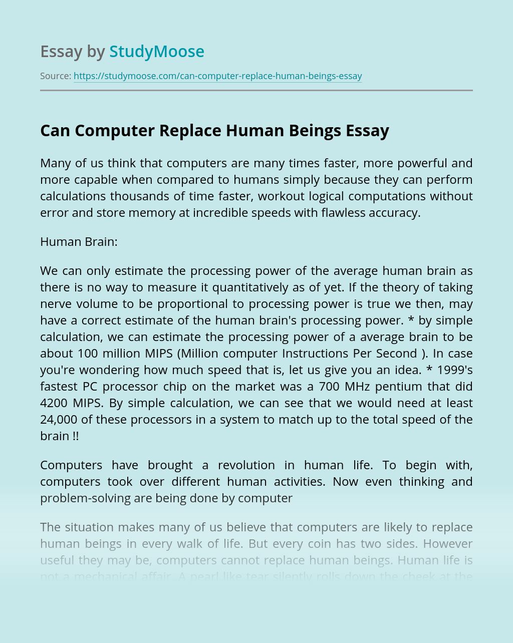 Computers and humans essays drywall mechanic resume