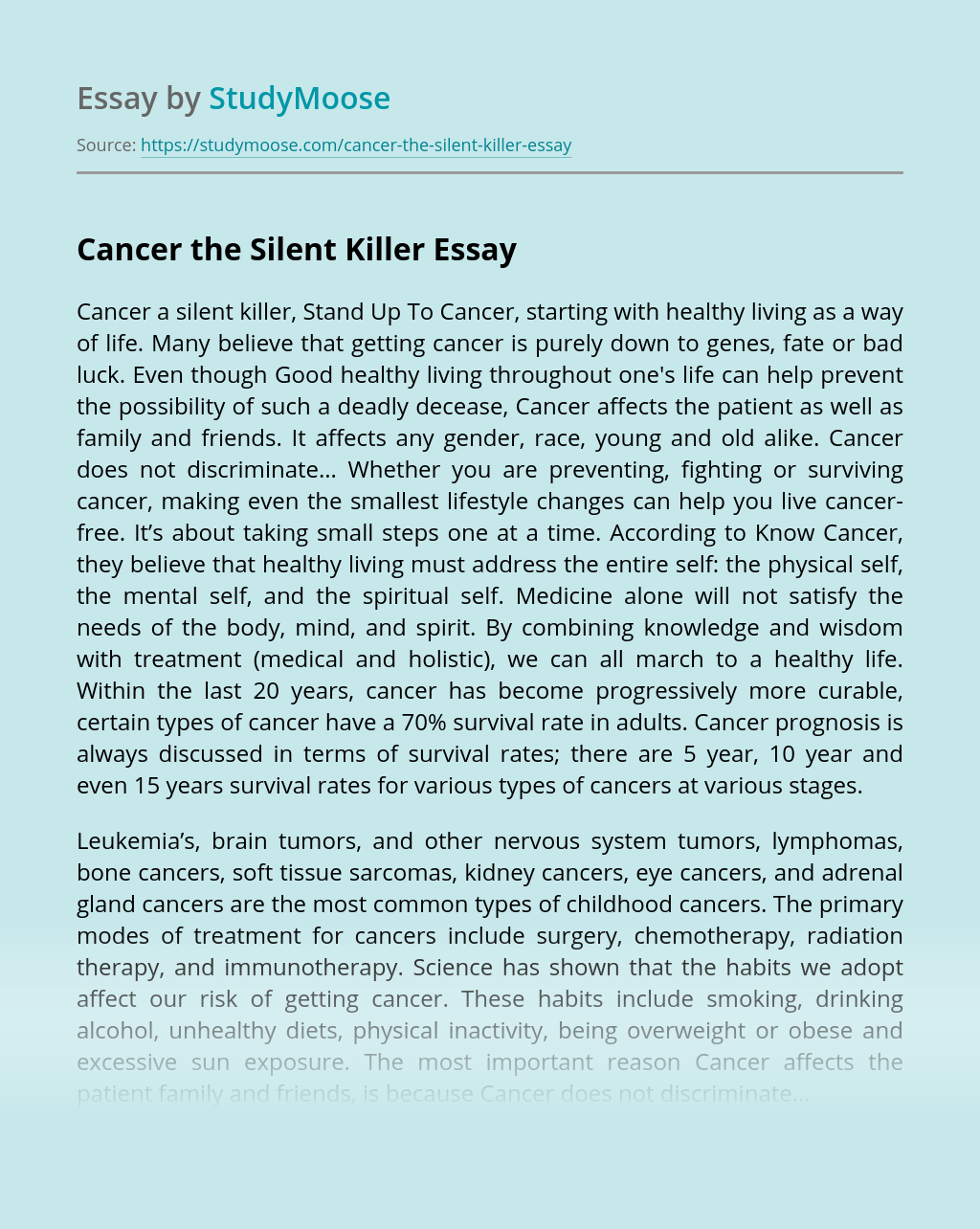 Cancer the Silent Killer