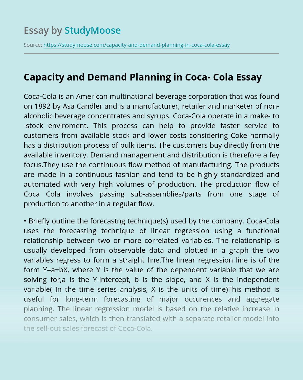 Capacity and Demand Planning in Coca- Cola