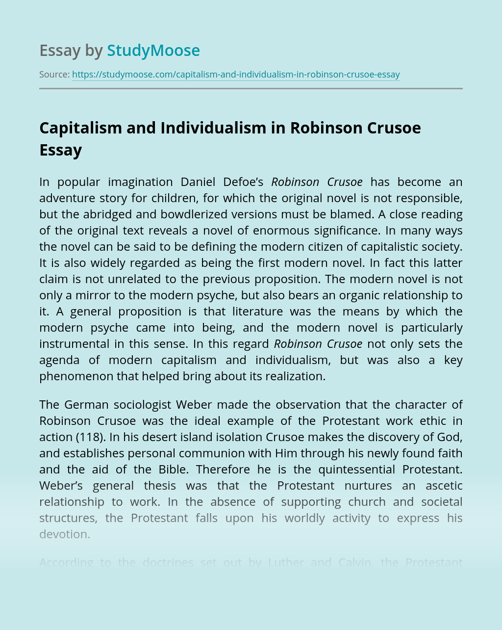 Capitalism and Individualism in Robinson Crusoe