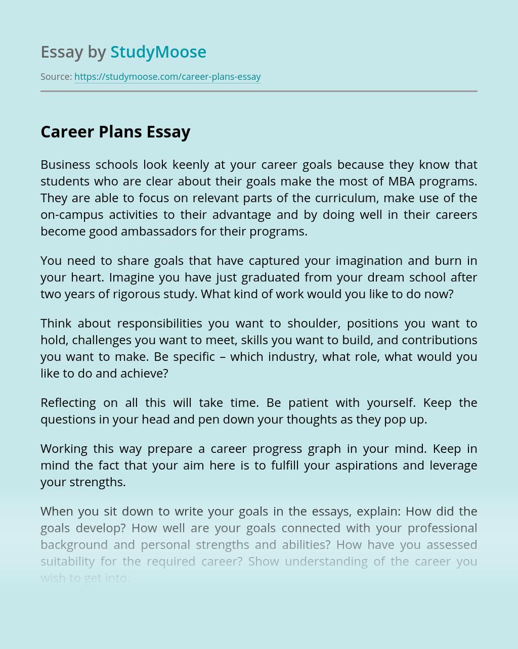 Career Plan Essay