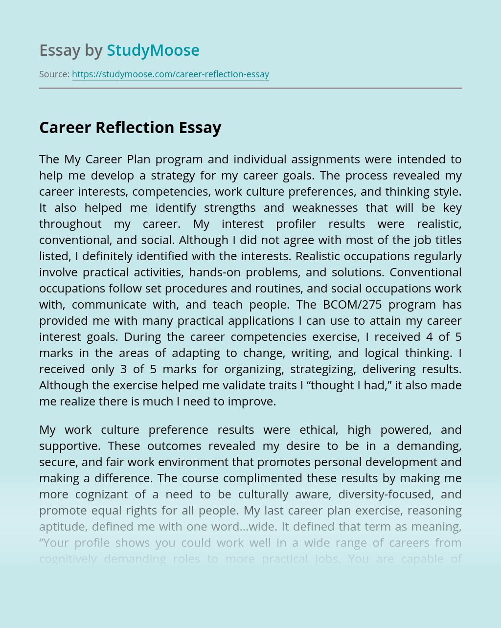 Career Reflection