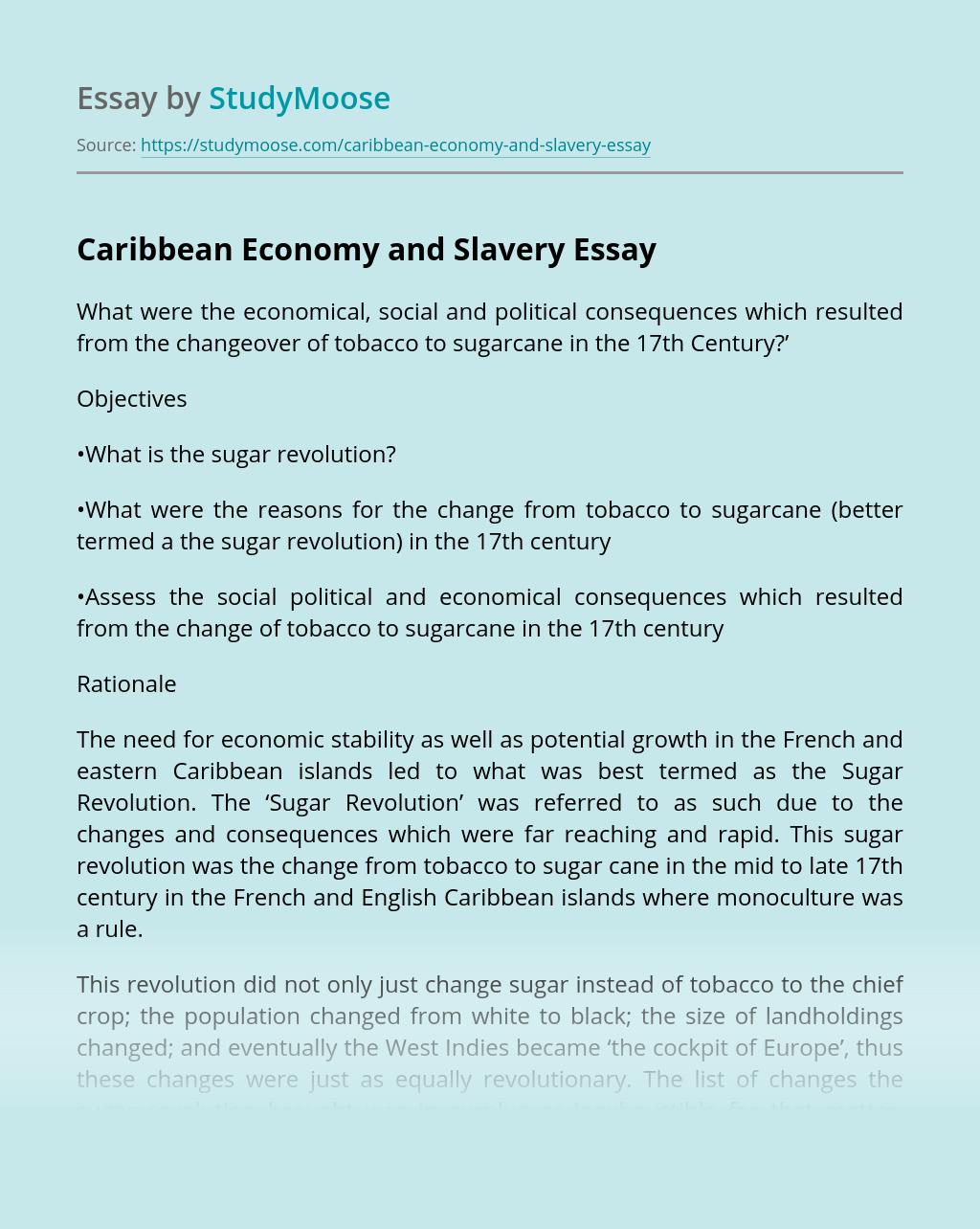 Caribbean Economy and Slavery