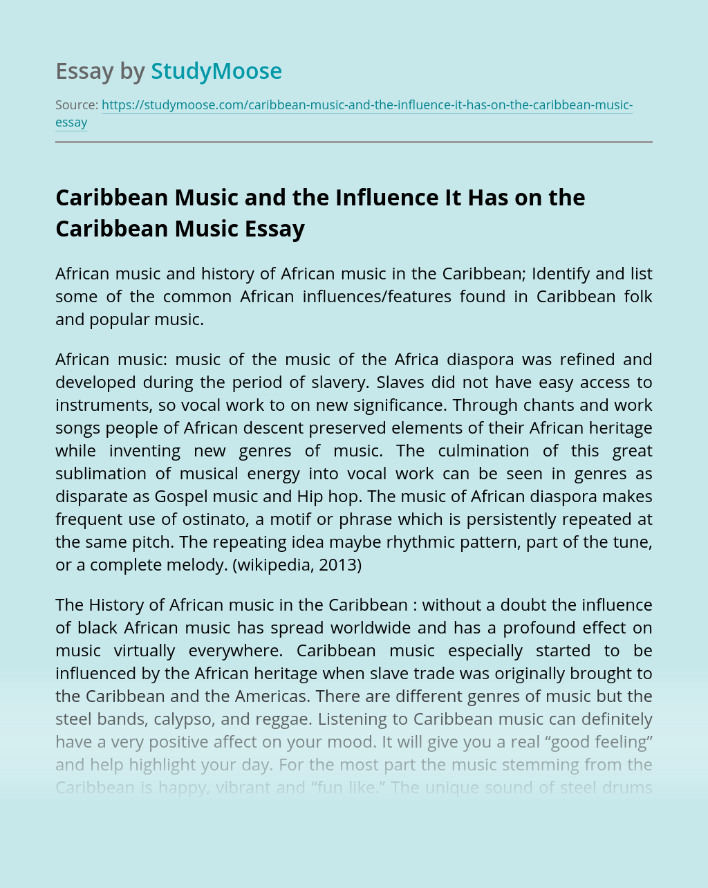 Caribbean Music and the Influence It Has on the Caribbean Music