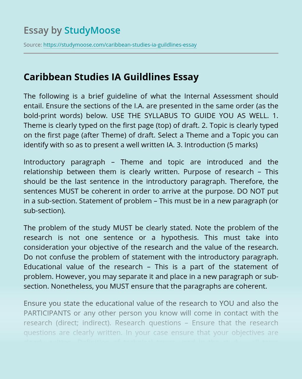 Caribbean Studies IA Guildlines