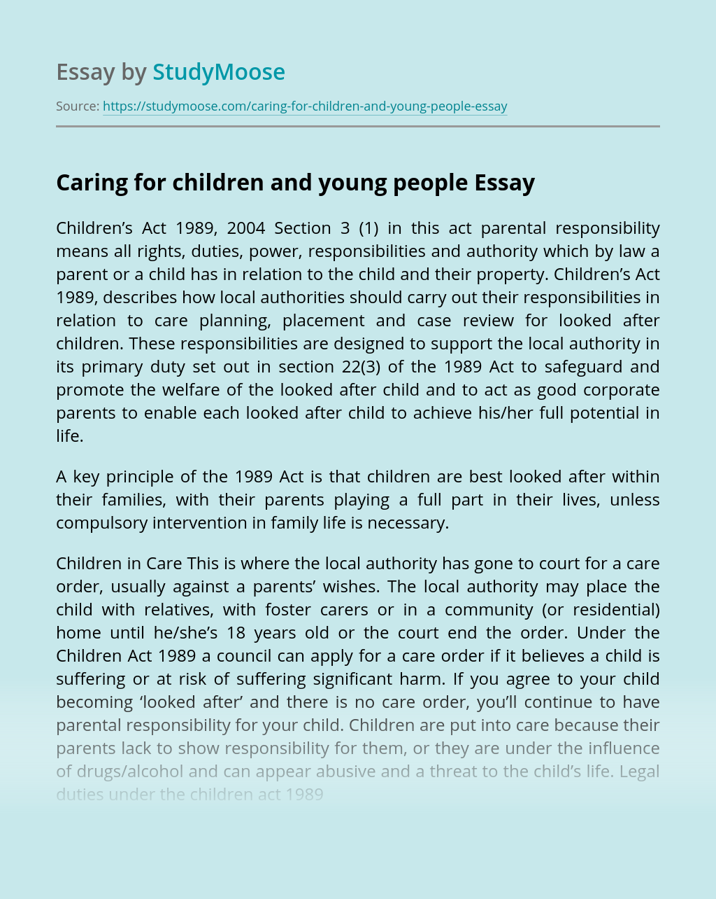 Caring for children and young people