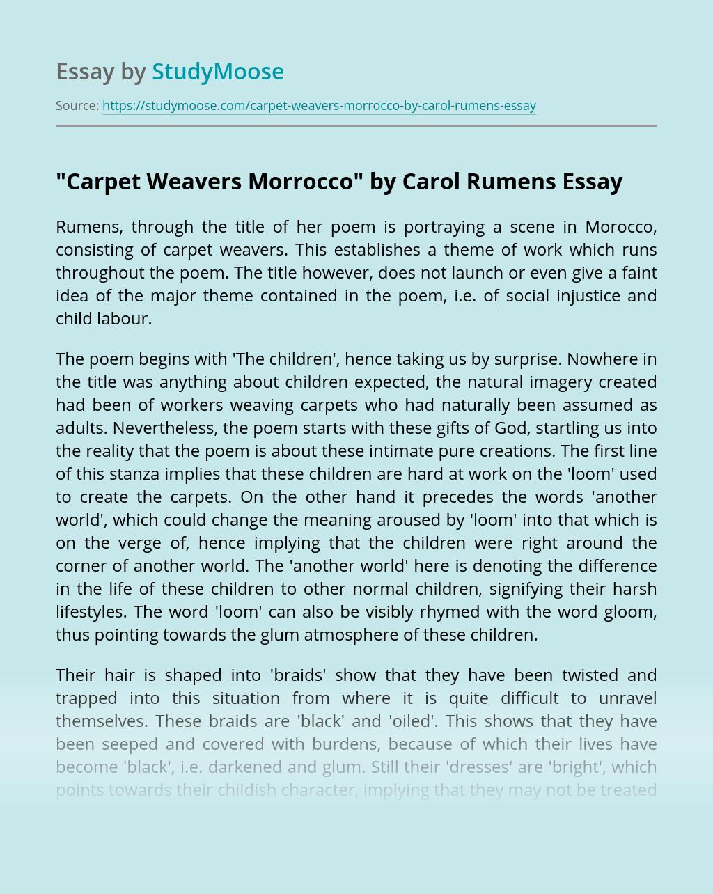 """Carpet Weavers Morrocco"" by Carol Rumens"