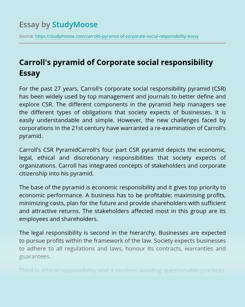 Carroll's pyramid of Corporate social responsibility