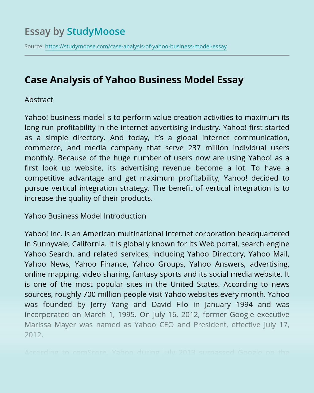 Case Analysis of Yahoo Business Model