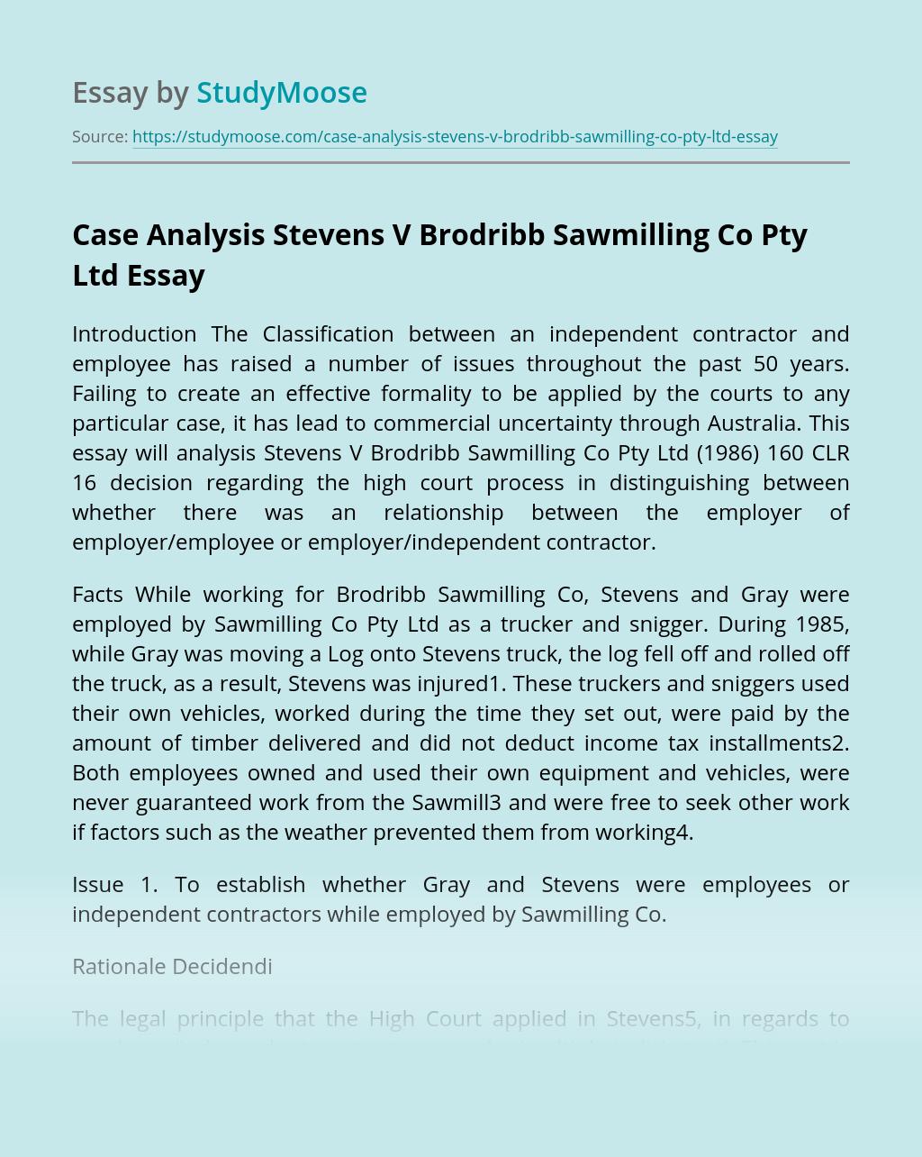 Case Analysis Stevens V Brodribb Sawmilling Co Pty Ltd