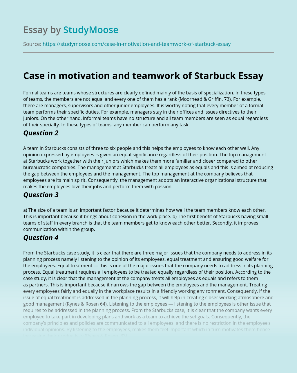Case in motivation and teamwork of Starbuck