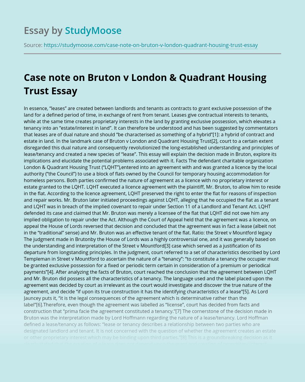 Case note on Bruton v London & Quadrant Housing Trust